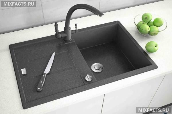 Раковина на кухню зі штучного каменю: плюси, мінуси, фото